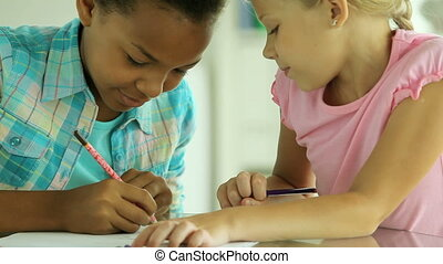 Common ideas - Friends spending time drawing together and...