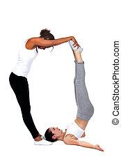 Young women doing aerobics