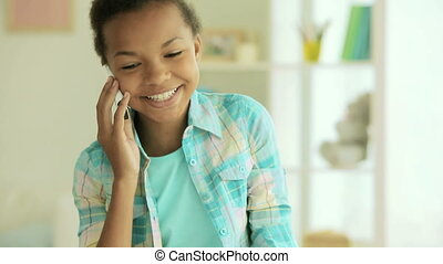 Phone talk - Girl of African-American appearance talking to...