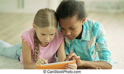 Familiar with modern technology - Classmates mastering their...
