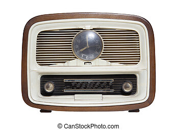 old radio - vintage radio isolated on the white background