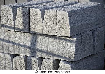 cinzento, concreto, blocos