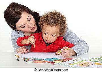 mãe, ensinando, dela, criança, como, desenhar
