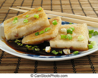 Taro With Soy Sauce - Taro cakes are a common dim sum dish...