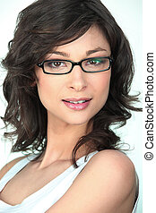 Brunette in trendy glasses