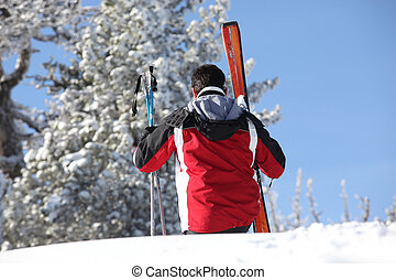 Rear shot of male skier