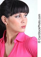 Portrait of a woman pouting