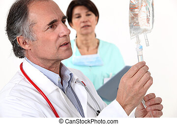 doutor, enganchar, cima, IV
