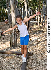 Gymnastic - Girl walking on the balance beam