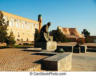 Al-Khorezmiy monument in Khiva. - Monument to Al-Khorezmiy...