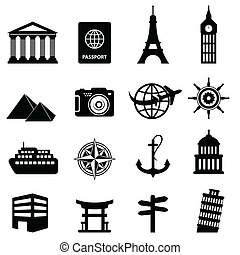 Travel and tourism icons - Travel and tourism icon set