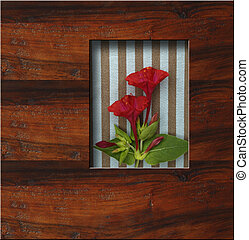 background wooden frame with fresh flowers and copy space