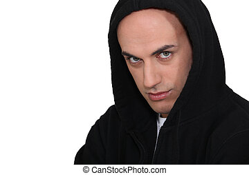 Man in a hooded jumper