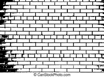 Grunge white and black brick wall background. Vector...