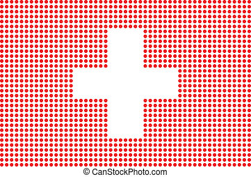 Dotted Switzerland flag on white