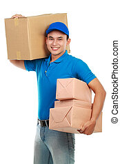 delivery man - Young man courier in blue uniform with lots...
