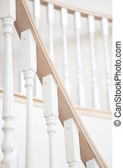 Staircase baluster close up shot