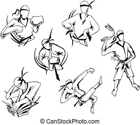 Martial arts. Set of black and white vector illustrations.