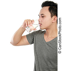 man drinking water isolated over white background - portrait...