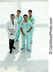 Medical team looking up