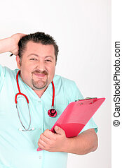 male nurse with red stethoscope and clipboard looking...