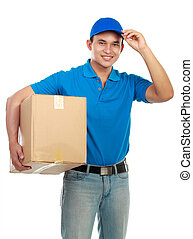 delivery man - Young man delivery in blue uniform with...