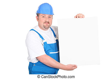 craftsman holding an ad board