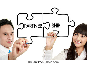 man and woman business partnership - businessman and...
