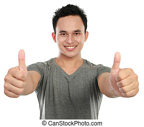 man two thumbs up - young asian man showing two thumbs up...