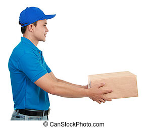 man courier in blue uniform - Young man courier in blue...