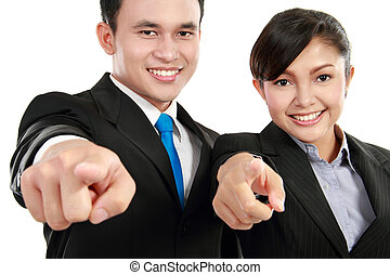 man and woman office worker pointing - Portrait of a woman...
