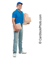 delivery man - full body portrait of man courier in blue...