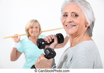 Women working out together