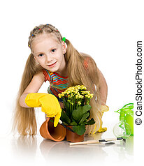 little girl with a flower