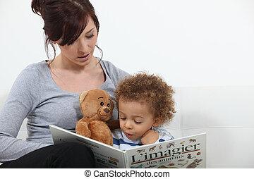 historia, lectura, madre, hijo