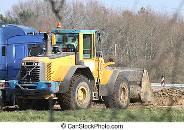 tractor in construction site