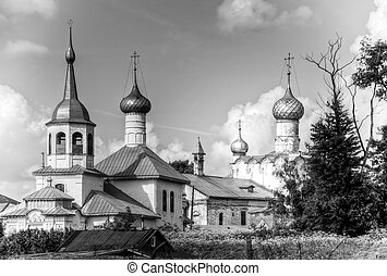 Old churches of rostov, Russia. - Black and white photo of...