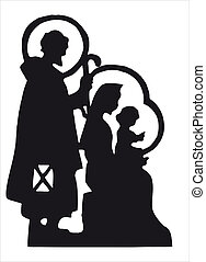 nativity silhouette - Nativity scene with Jesus, Mary,...