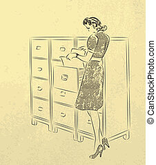 Young secretary looking for documen - Young woman-secretary...