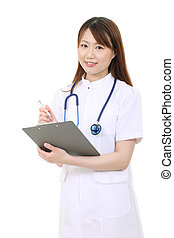 Young asian female nurse holding a clipboard