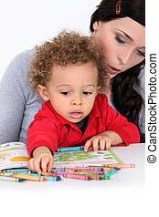Little boy colouring book