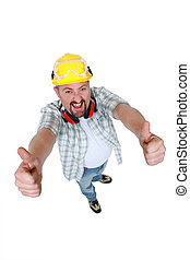 Quirky handyman giving two thumbs-up