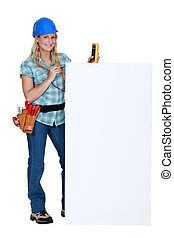 Electrician with a blank board