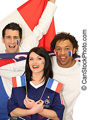 Three French football supporters