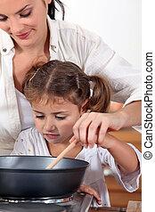 hija, ella, Cómo, madre, enseñanza, cocinero