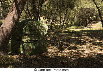 Hunting blind in a typical setup under a tree with shadow s...
