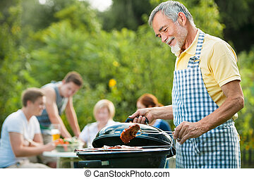 família, tendo, churrasco, Partido