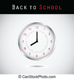 Back to school background with a clock