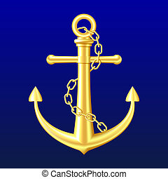 Gold Anchor on blue background - Gold Anchor with chain on...