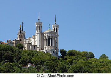 Lyon Cathedral in the big blue sky - Fourviere basilica seen...